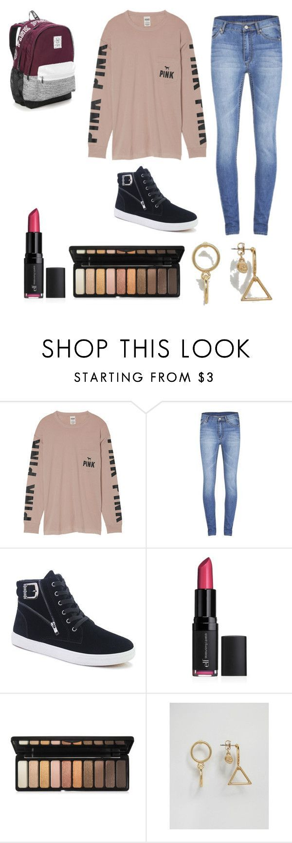 """""""#PINK (teen) middle school outfit"""" by hannahandmaya03 on Polyvore featuring Vic… – makeup"""