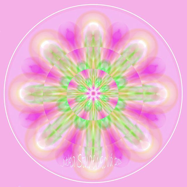 Mandala č.9 - K narození holčičky Mandala pro láskyplný start do života pro miminka-holčičky: růžová - láska bílá - čistota   zelená -růst Doporučuju pověsit nad postýlku. počítačová grafika, rozměr 30x30 cm, laminováno jako ochrana proti UV záření dodáváno bez vodoznaku