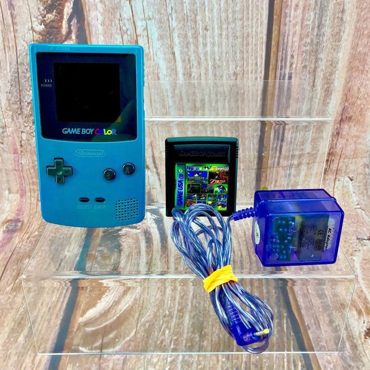Nintendo Game Boy Color Blue Handheld System +39 Games and Mains Adapter