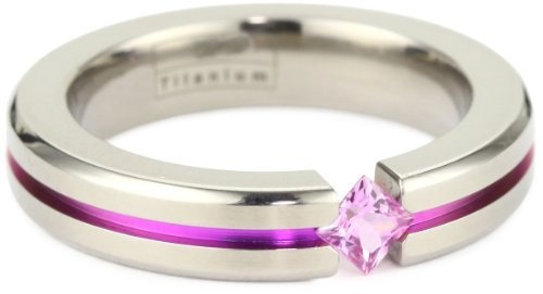 Women's Grey Titanium Princess-Cut Pink Sapphire with Pink Anodized Channel, Size 5.5 Amazon Curated Collection, This instead of black?