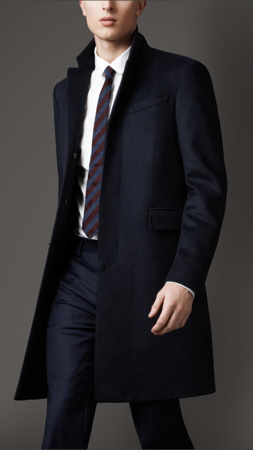 $1,695, Navy Overcoat: Wool Cashmere Topcoat by Burberry. Sold by Burberry. Click for more info: http://lookastic.com/men/shop_items/168662/redirect