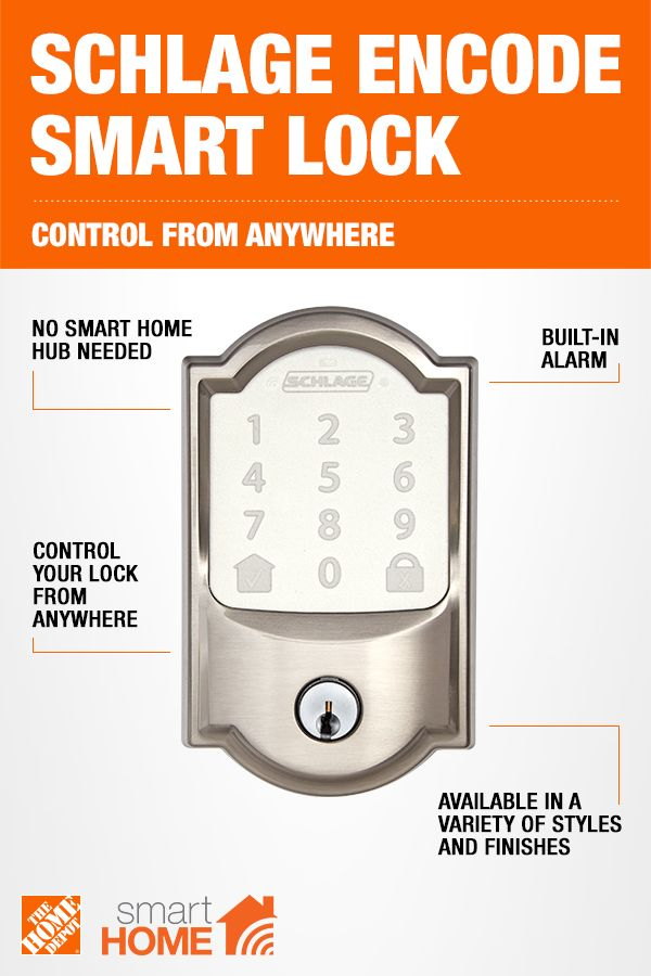 Schlage Camelot Encode Smart Wifi Door Lock With Alarm In Satin Nickel Be489wb Cam 619 The Home Depot Wifi Door Lock Schlage Smart Wifi
