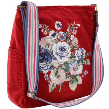 Red Velvet Messenger Bag by Cath Kidston £45.  I MUST have this!!!!!