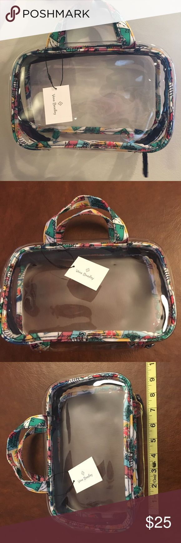 NWT Vera Bradley Clear Bag NWT Vera Bradley clear cosmetic bag. This was a GWP and does not include the other products that were in the bag. Just selling bag pictured above. Perfect for travel! Vera Bradley Bags Cosmetic Bags & Cases