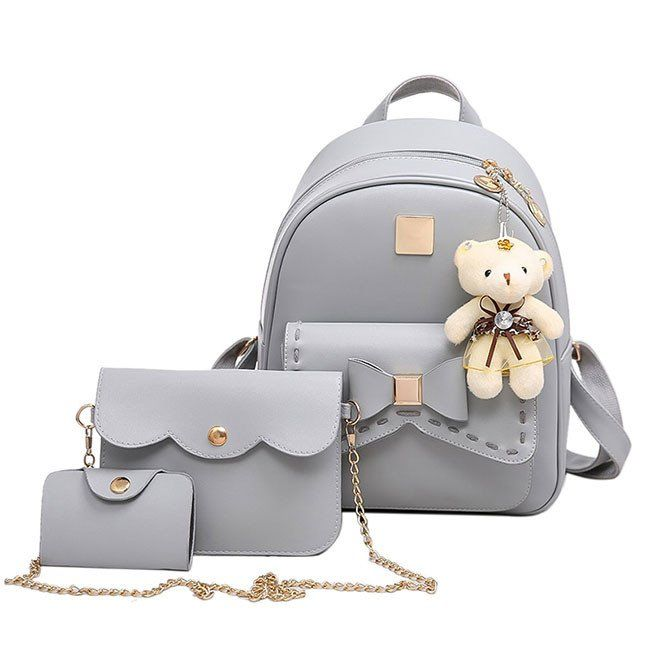 Lovely Gray Pink Splicing Bowknot Bear Pendant PU College Backpack  #school #college #fashion #bag #backpack #student