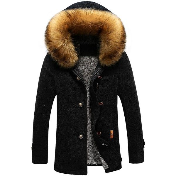 Patch Design Zip Up Fur Hooded Jacket ($51) ❤ liked on Polyvore featuring men's fashion, men's clothing, men's outerwear, men's jackets, mens fur hood jacket and mens zip up jackets