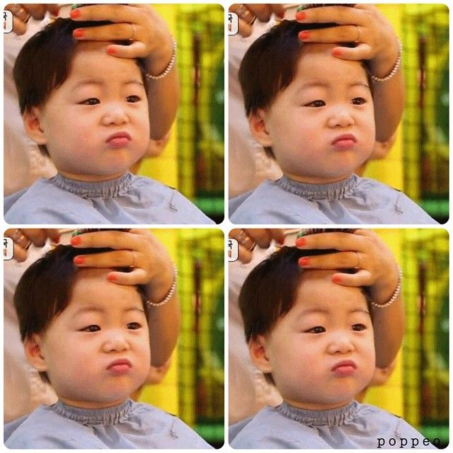 manse with the expression clearly shows he doesn't want a haircut