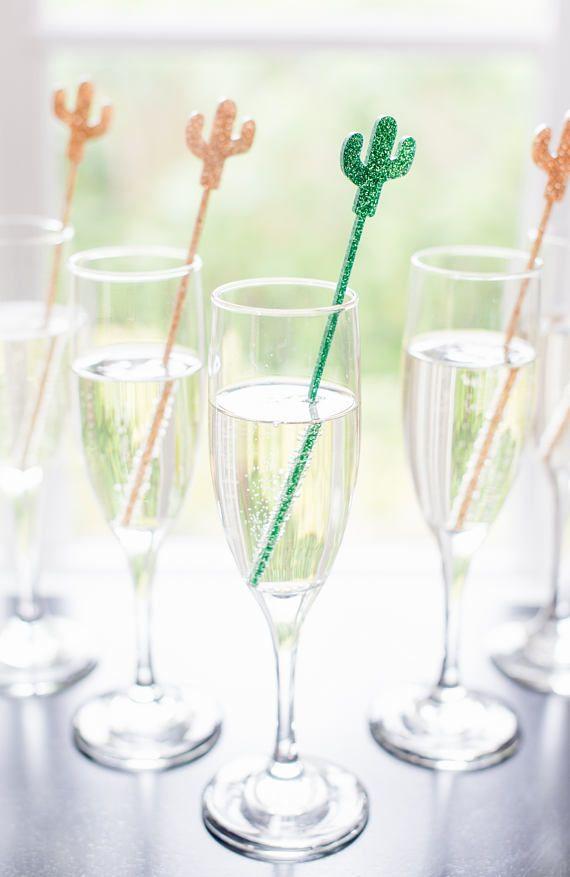 Cactus Party Stir Sticks Bachelorette Bridal Shower Fiesta