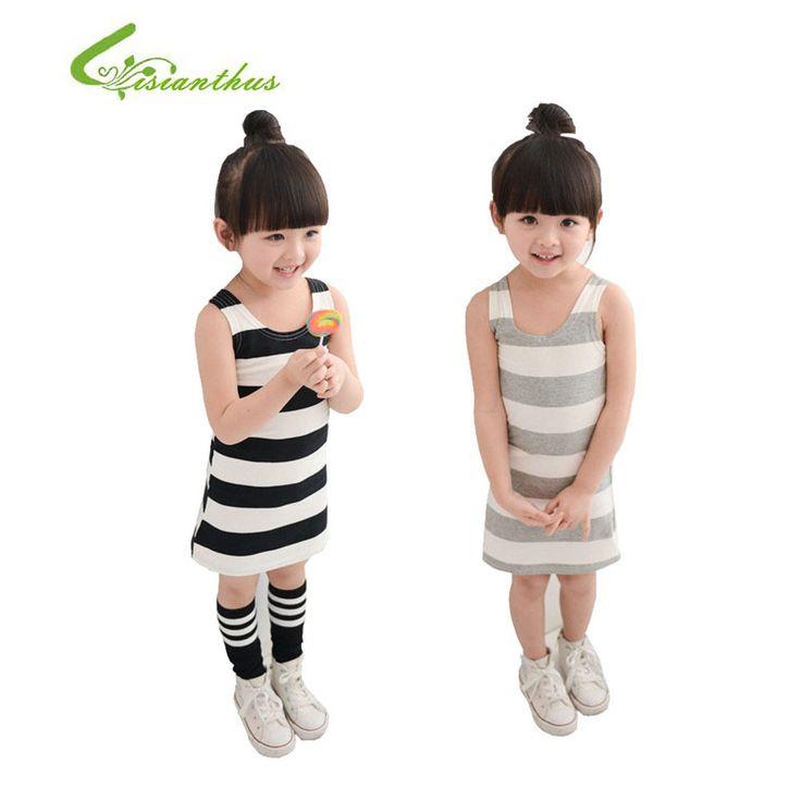 $7.40 (Buy here: https://alitems.com/g/1e8d114494ebda23ff8b16525dc3e8/?i=5&ulp=https%3A%2F%2Fwww.aliexpress.com%2Fitem%2F2016-New-Children-Girls-Casual-Summer-Dresses-Baby-Kids-Girls-Strip-Cotton-Dress-Sleeveless-Sweet-Girls%2F1000001347499.html ) 2017 New Children Girls Casual Summer Dresses Baby Kids Girls Strip Cotton Dress Sleeveless Sweet Girls Clothes Grey And Black for just $7.40