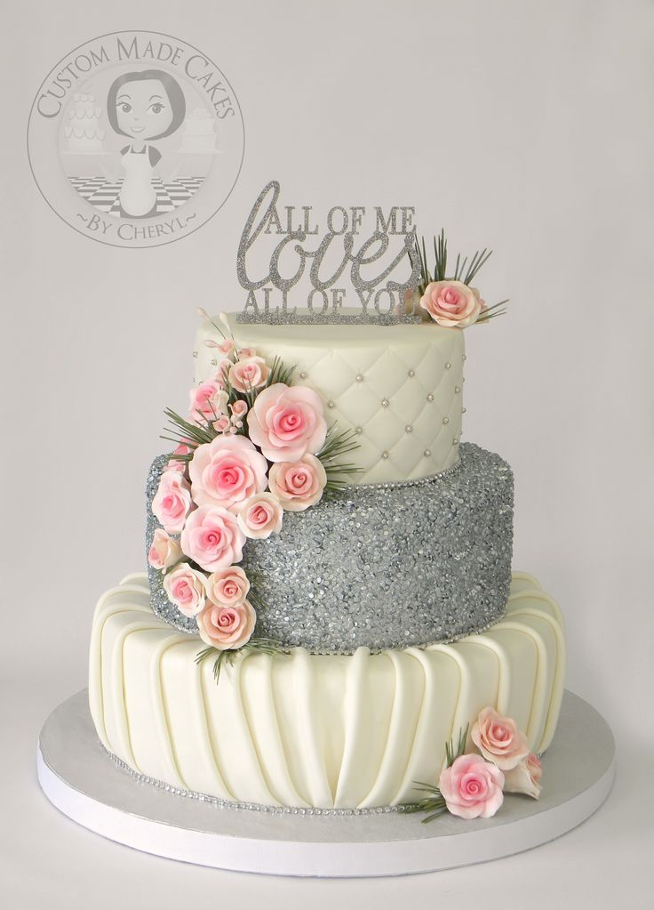 Wedding Cake Silver And Pink