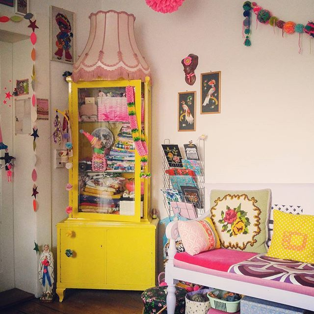 happy, bright colors, eclectic style