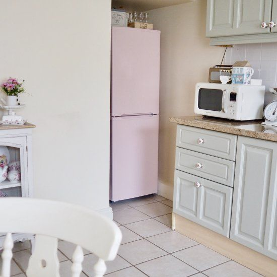 I painted my fridge from black to pink and gave my kitchen a retro, fun feel.