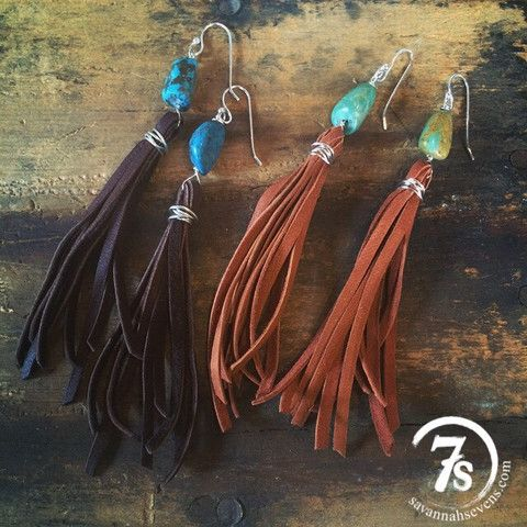 Tatum Earrings – turquoise and leather fringe earrings from Savannah Sevens Western Chic