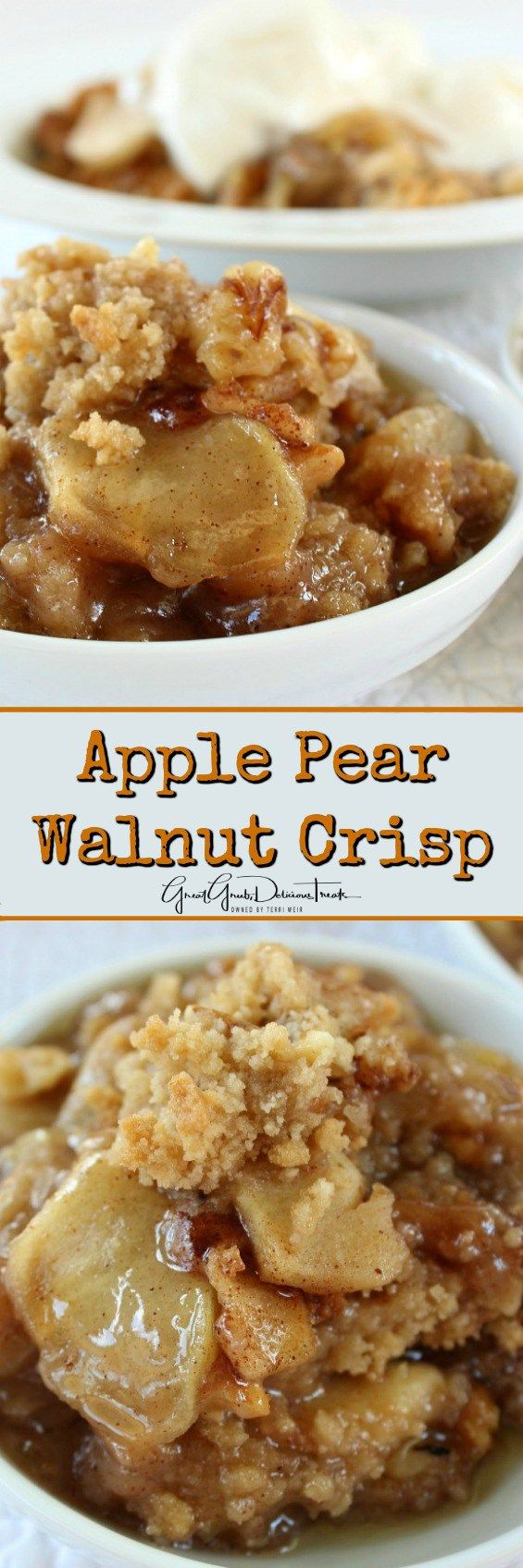 Apple Pear Walnut Crisp - This Apple Pear Walnut Crisp is so easy to make and will definitely satisfy your dessert craving! You are gonna love this one!