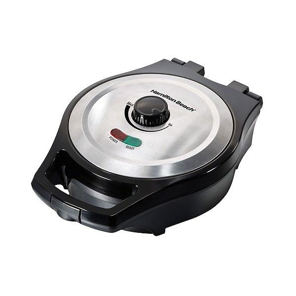 Hamilton Beach Round Mess-Free Belgian Waffle Maker - ($19) ❤ liked on Polyvore featuring home, kitchen & dining, small appliances, black, hamilton beach, hamilton beach waffle iron, hamilton beach electric grill, hamilton beach griddle and hamilton beach waffle baker