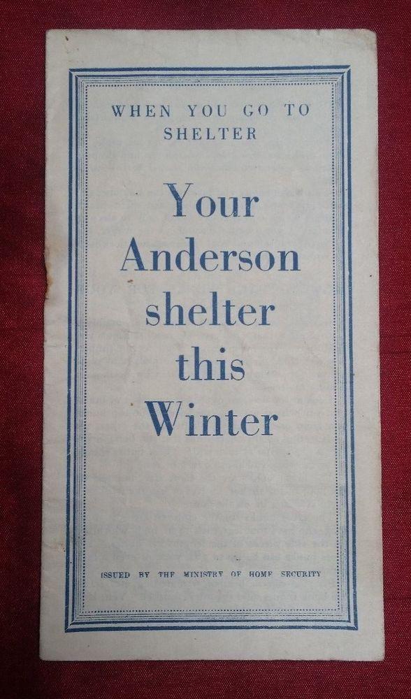 Original WW2 Anderson Shelter leaflet - ARP AFS NFS FG LDV Home Guard