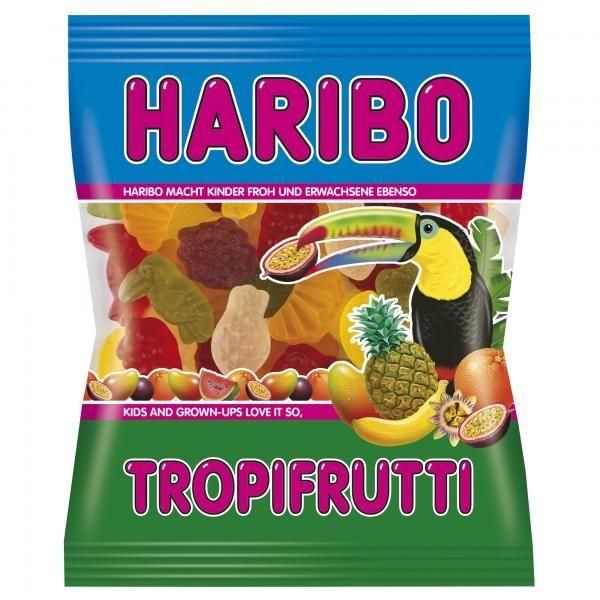 Haribo TropiFrutti : Bonbons gélifiés au goût exotiques et en forme de fruits des tropiques : ananas, banane, melon, mangue, mandarine et cassis. un Must !