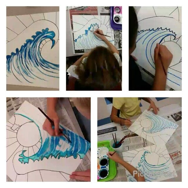 Fifth grade artists are painting their GORGEOUS Hokusai-inspired Great Waves! Perfect use of oil pastel-watercolor resist to create texture and movement!