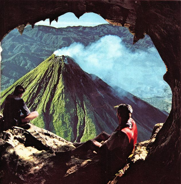 Volcano camping. Arenal Volcano, Costa Rica. Wilderness Campsites.