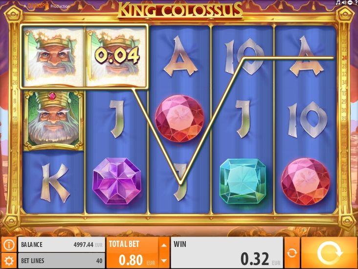 King Colossus в казино на реальные деньги с выводом  Компания Quickspin посвятила онлайн игру King Colossus королю и его богатствам. Вы будете получать моментальные выплаты в казино, составляя комбинации на 40 линиях. Еще выводу реальных денег поспособствуют особые знаки и дополнительные вращения.