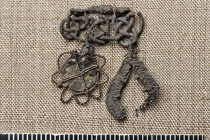 Bj 524 Birka Textile Fragment - posament-work with pendant-mounts.