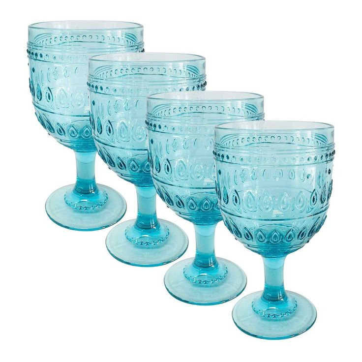 Fez Turquoise 12oz Wine Glassware Set of 4 by Euro Ceramica #EuroCeramica