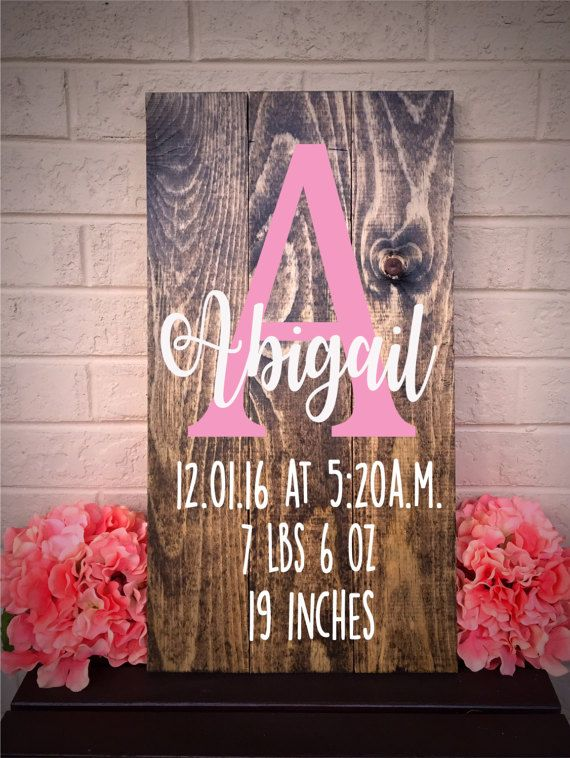 Birth Stats Sign Newborn Baby Gift New Baby by RusticRoadSignCo
