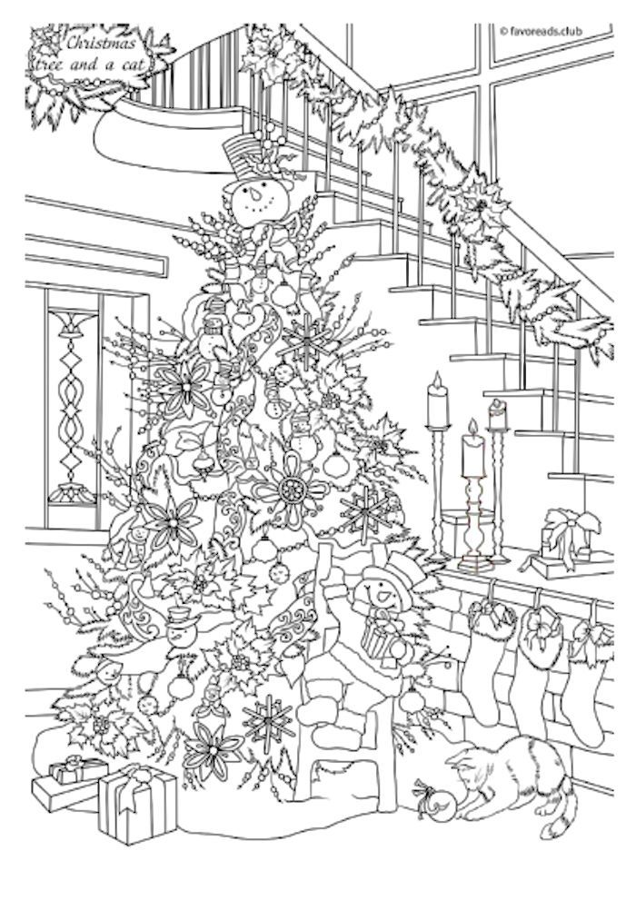 Christmas Tree With Cats Coloring Page