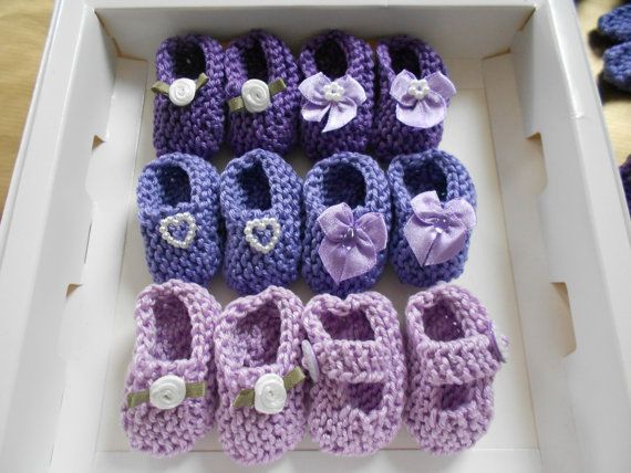 BEST SELLER Girl Baby Shower Decorations: 4 Pairs Hand Knit Mini Booties    2 Inches   Shades Of Lavender/ Lilac/ Purple   Decoration Size