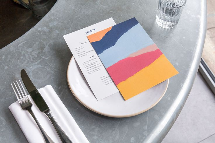 Logo, menus and signage by British studio Here Design for London-based Southern French and Mediterranean food restaurant Sardine #graphic #design #restaurant