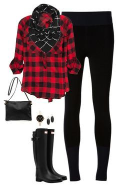 """Plaid on Plaid"" by steffiestaffie ❤ liked on Polyvore featuring rag & bone, Hunter, Clare V., Charlotte Russe, Kendra Scott and Marc by Marc Jacobs"