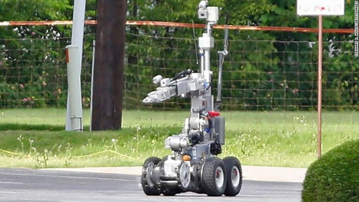 """""""Police robots are becoming more prevalent as law enforcement agencies increasingly turn to machines to handle dangerous jobs."""" Regarding the bombs/weapons found on the streets of NJ this past weekend, the police department used these robots to detect and pick up the bombs safely and keep them from going off. These robots are used only when the task is too dangerous for humans to get involved."""