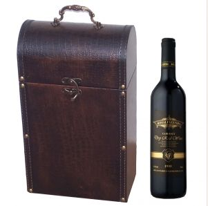 Wooden Wine Boxes Manufacturers Vintage Home Decor Manufacturer  This 2 bottles of wine storage Box made combination of fine wood and durable PU leather, Bronze metal handle on the top, bronze metal seal in the front,and two sides wrapped brown leather belt which studded with vintage rivets.