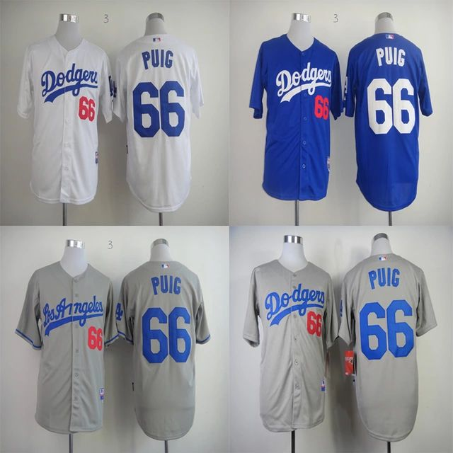 #66 Yasiel Puig Jersey Los Angeles Dodgers Jersey Baseball Jersey Sports Jerseys Embroidery Logos White Blue Grey