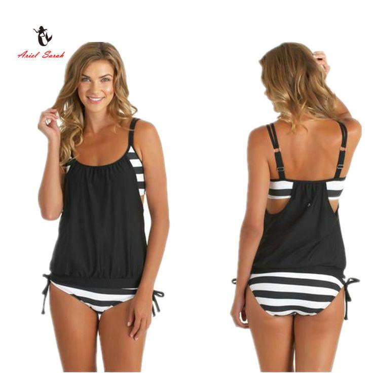 Ariel Sarah 2016 Marca Maiô Sexy Biquíni Definir Plus Size Swimwear Mulheres Maiô Preto Listrado Beachwear XXXXL BJ217