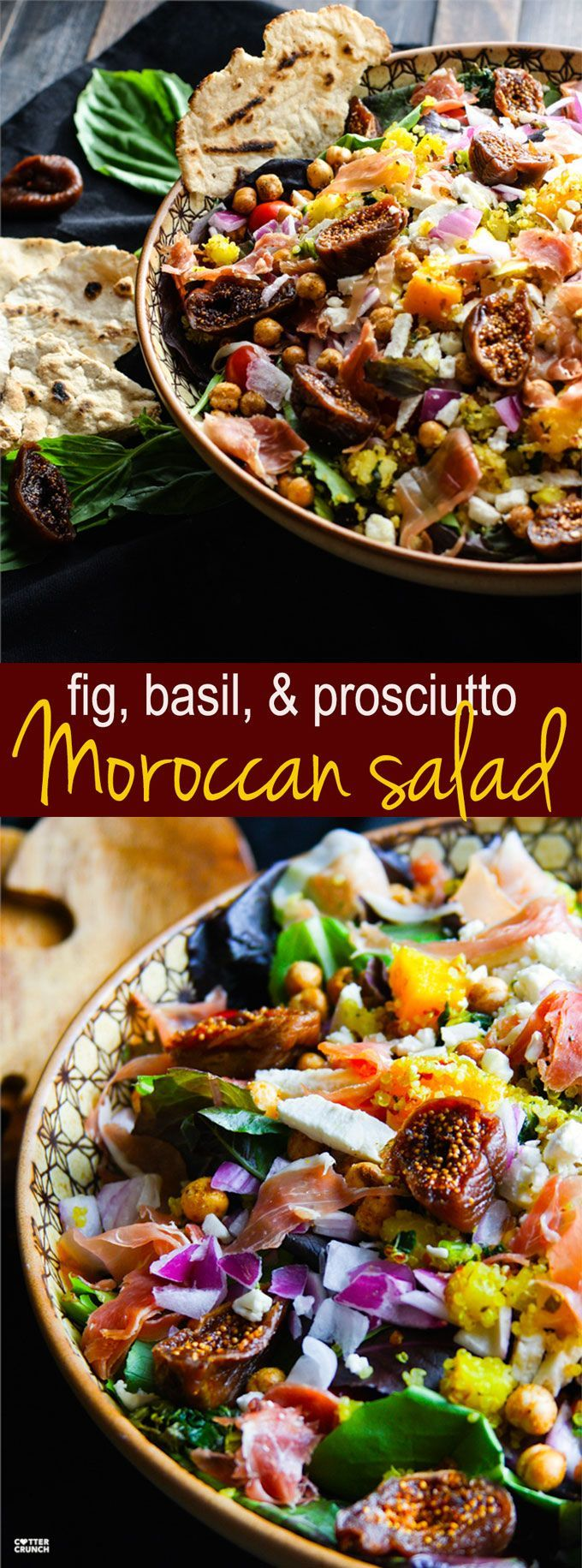 Gluten free fig, basil, and prosciutto Moroccan salad! This healthy cultural salad is far from boring. Perfect flavor combinations, including sweet and savory spices, and layers of dried fruit and vegetables. Great by itself or with a main protein like fish or chicken