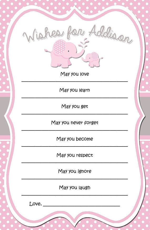 Pink and grey elephant baby shower wishes digital for Wishes for baby template printable