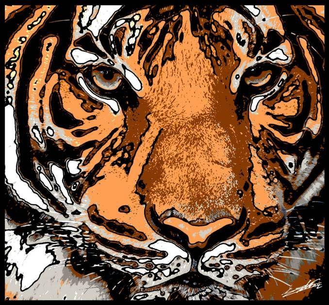 Tableau tigre peinture animaux sauvages jungle gueule félin moderne pop art
