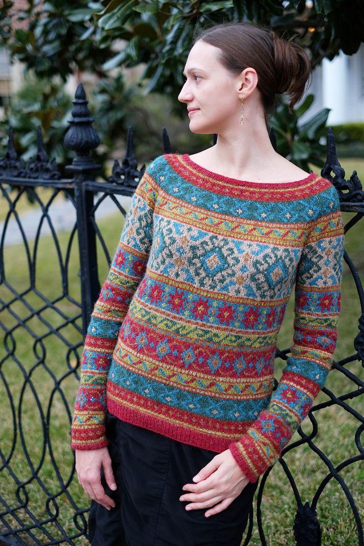 Anatolia, Rowan Magazine 54 (British knitting/crochet), by Marie Wallin, in 7 colors of Rowan Felted Tweed DK