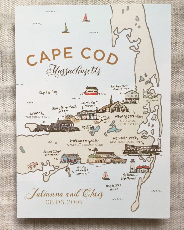 Custom Illustrated Map, Welcome Map, Wedding Map, Cape Cod Wedding Map, welcome bags, wedding welcome bags beach wedding map, Cape Cod Map, illustrated wedding map, illustration #weddingmap #welcomebags