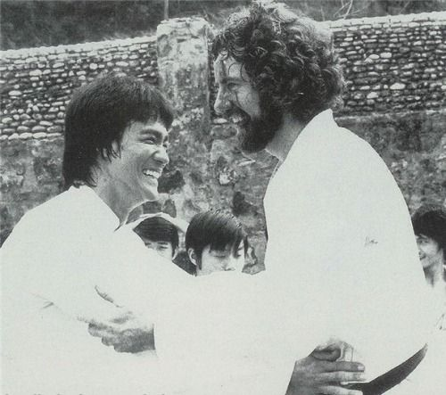 "The reality - B. Lee and B. Wall during making ""Enter the Dragon""."
