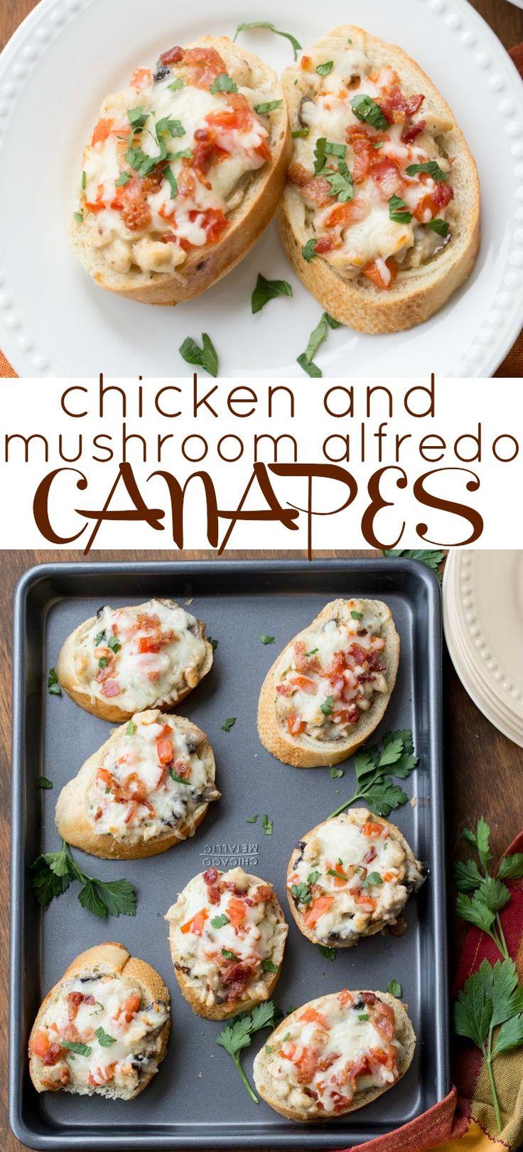 Chicken and Mushroom Alfredo Canapes.