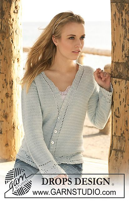"Ravelry: 120-31 Crochet jacket with lace pattern in ""Safran"" pattern by DROPS design"