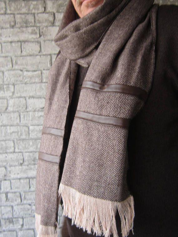 Brown Herringbone Men Scarves rectangular men scarf fashion