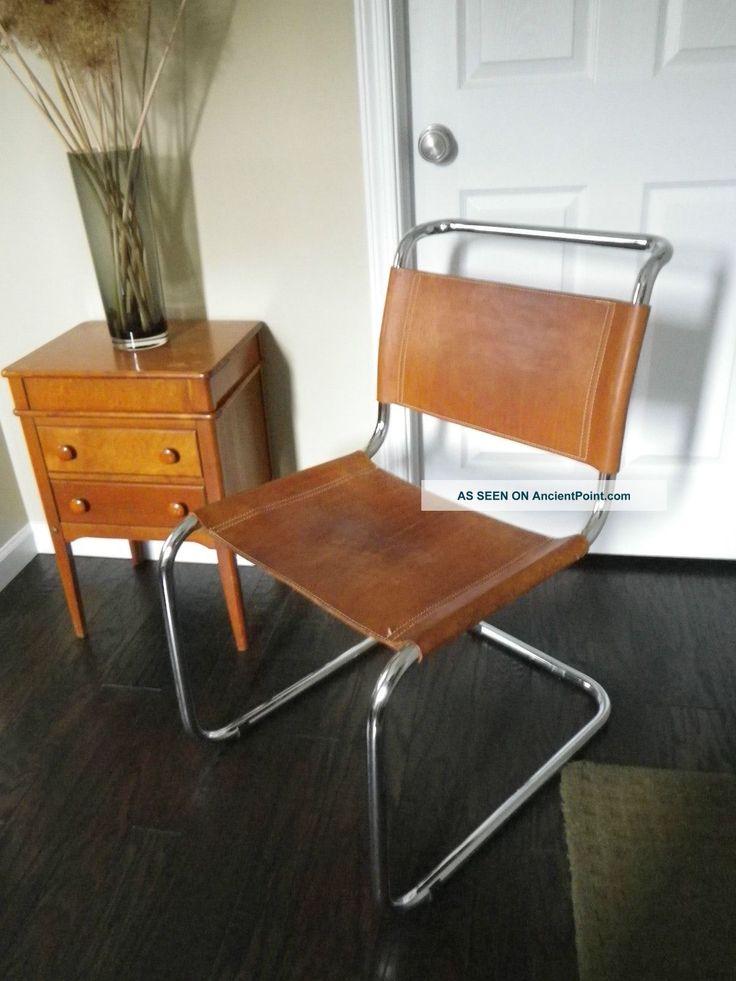 Vintage Mid Century Modern Bauhaus Mart Stam Chrome U0026 Cognac Leather Side  Chair Photos And Information In AncientPoint