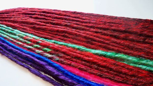 Red, blue, sea foam, purple, black SE single ended or DE double ended synthetic dreadlocks. damnationhair.com #damnationhair