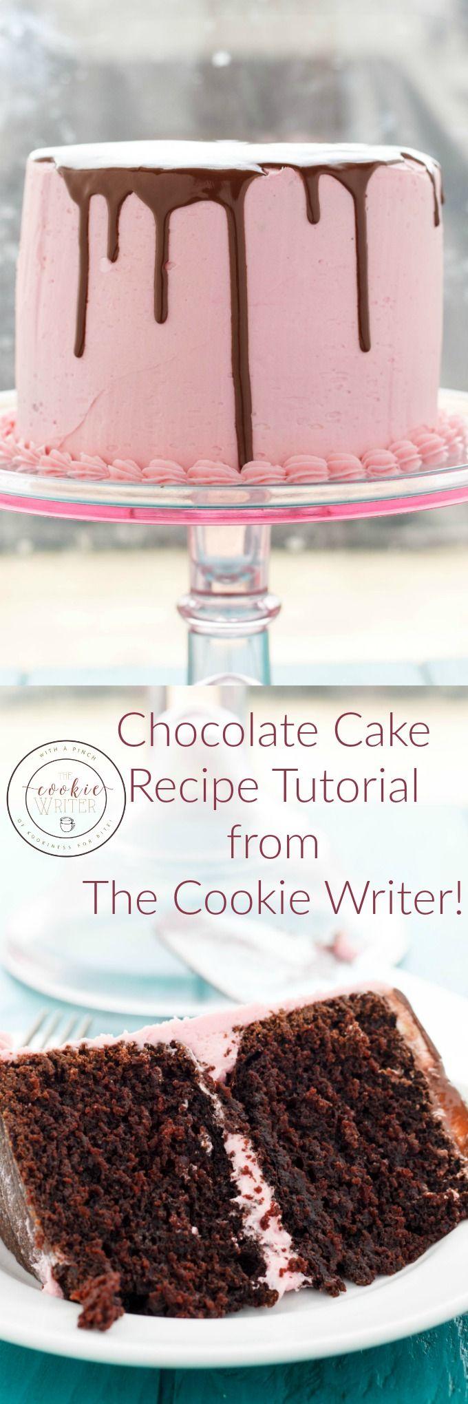 Chocolate Cake Recipe Tutorial from The Cookie Writer!   http://thecookiewriter.com   #cake #dessert #chocolate #vegetarian