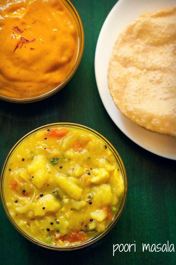 poori masala recipe - south indian potato masala gravy or sabji with pooris.
