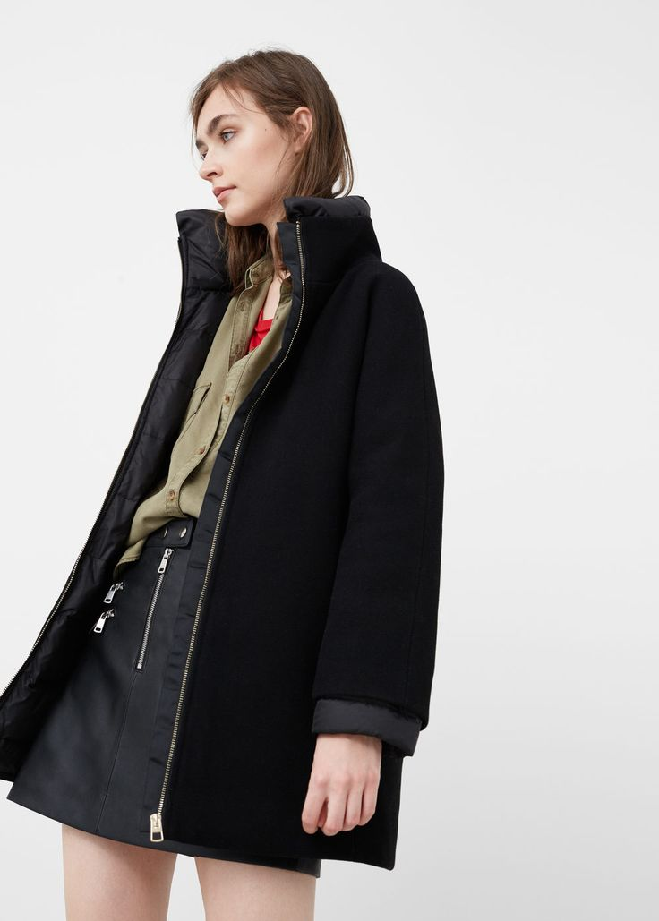 Wool-blend quilted coat - Coats for Women | MANGO USA