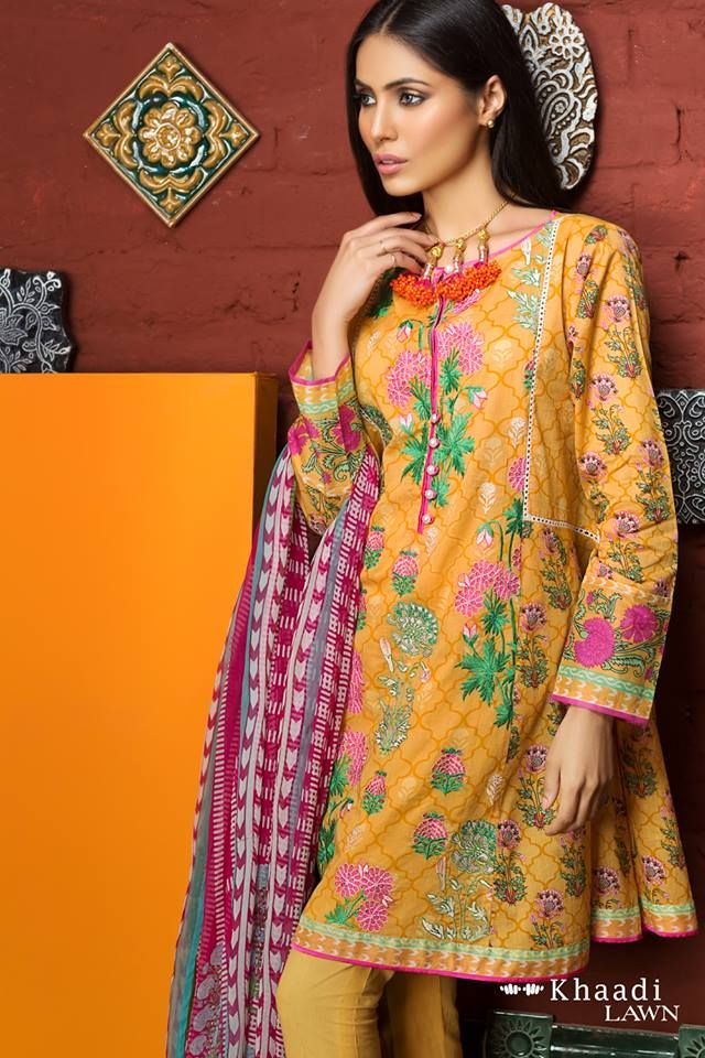 Khaadi Embroidered Lawn Suit Chiffon Dress  http://www.fashioncluba.com/2017/02/khaadi-summer-lawn-prints-embroidered-shirt-collection.html